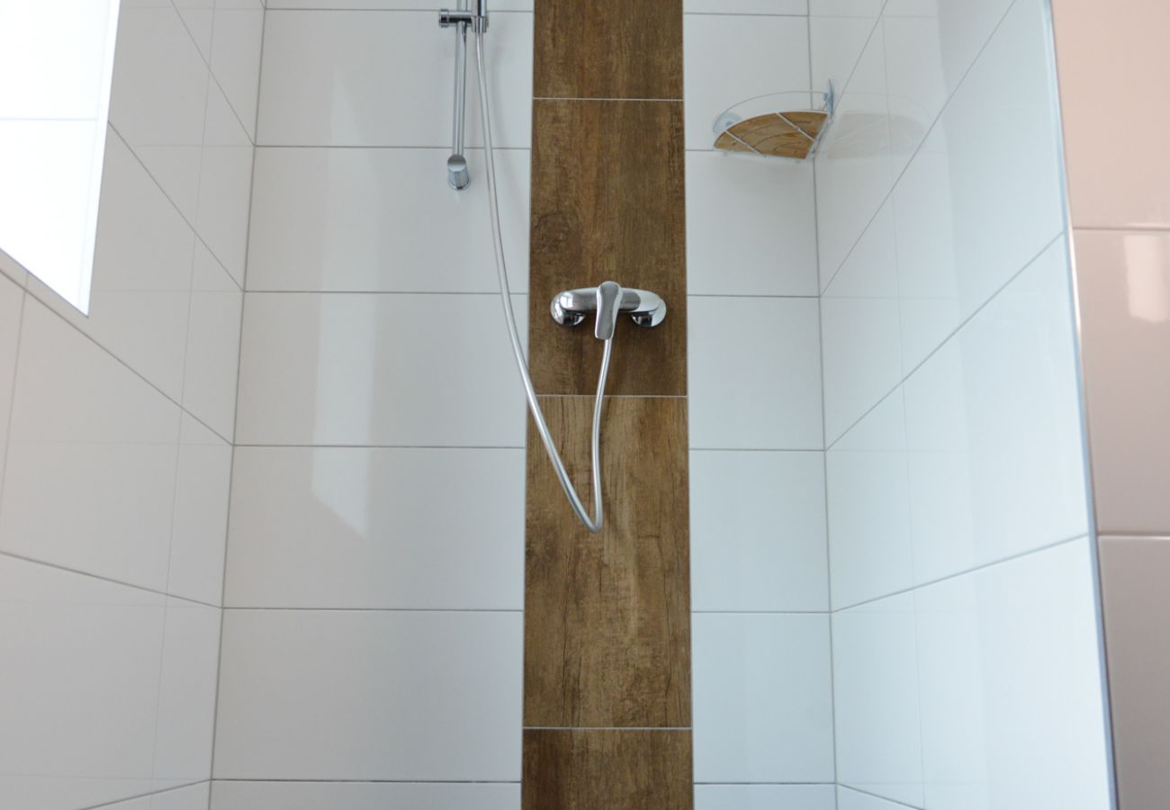 Shower in the bathroom in the holiday home Grimming Lodge Windroeschen in Tauplitz