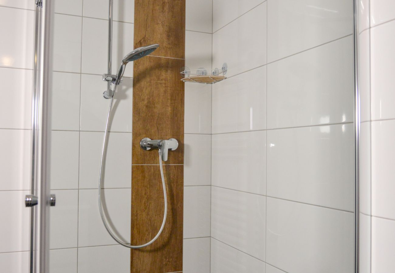 Shower in the bathroom in the holiday home Grimming Lodge Goldrute in Tauplitz