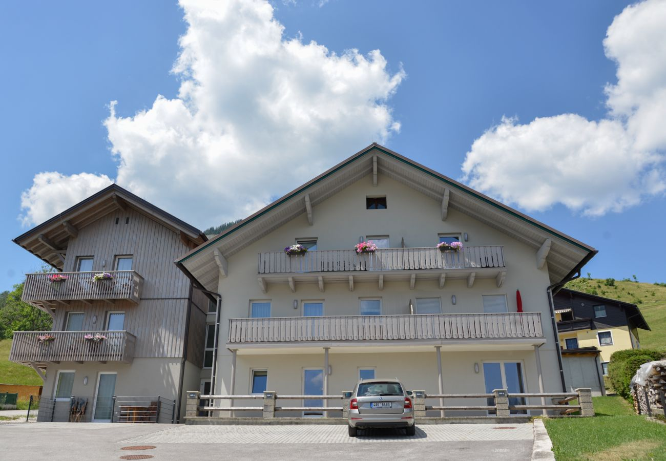 Exterior view from the front of the holiday home Grimming Lodge Goldrute in Tauplitz