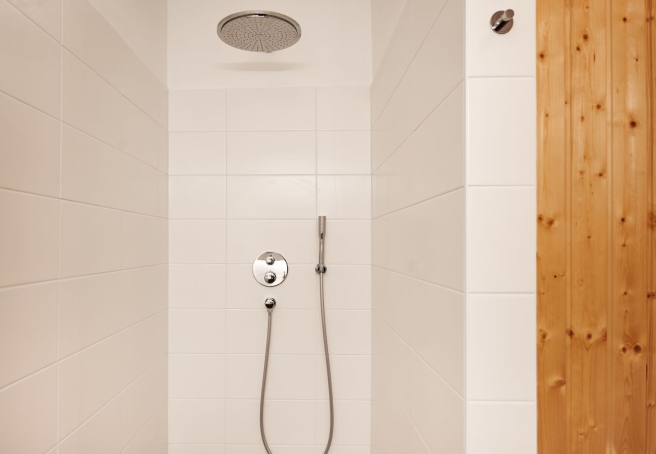 Bathroom with Washing machine, rain shower and Sauna in the Holiday home flat Adler Lodge D5 in Tauplitz