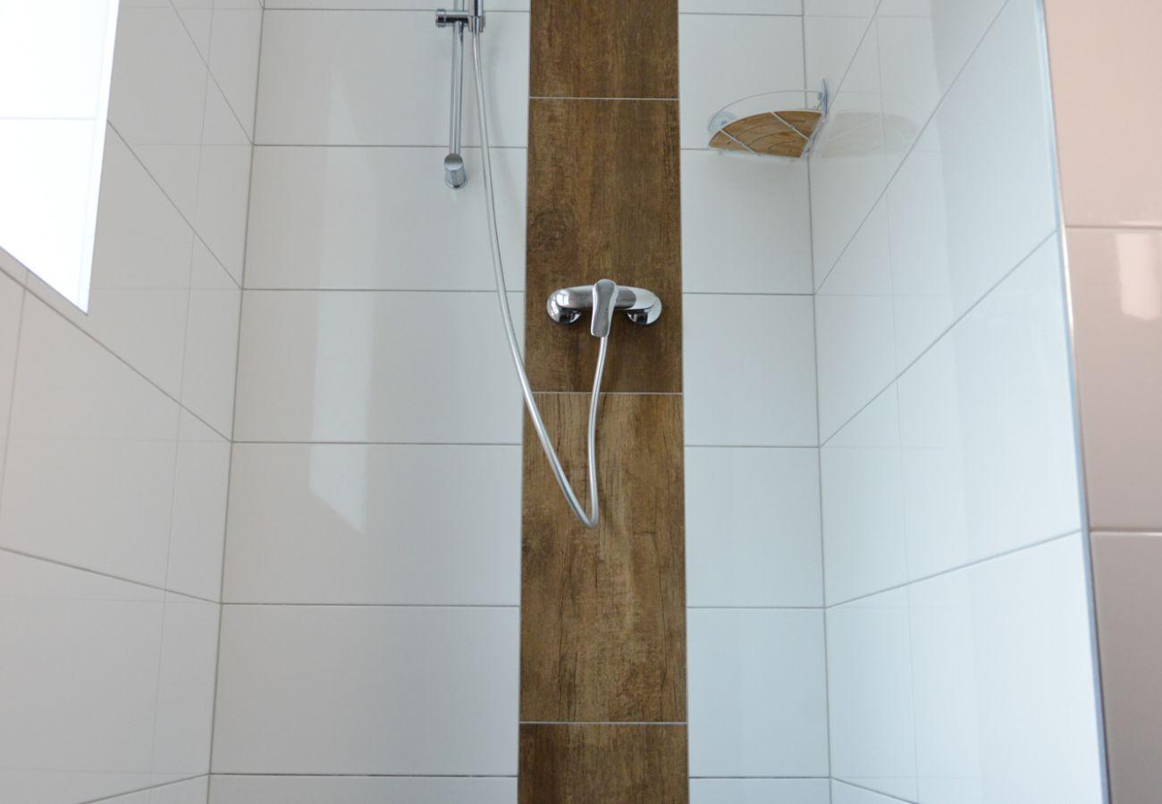 Dusche im Badezimmer in der Ferienwohnung Grimming Lodge Windroeschen in Tauplitz