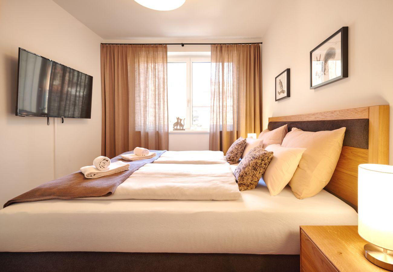 Schlafzimmer 2 mit Fernseher  in der Ferienwohnung Alm Lodge A5 in Tauplitz