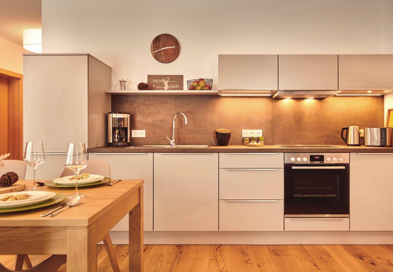 Küche in der Ferienwohnung Adler Lodge D3 in Tauplitz