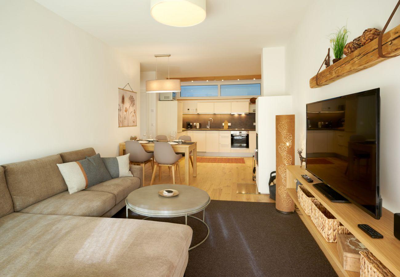 Couch mit Fernseher in der Ferienwohnung Wasserfall Lodge C2 in Tauplitz