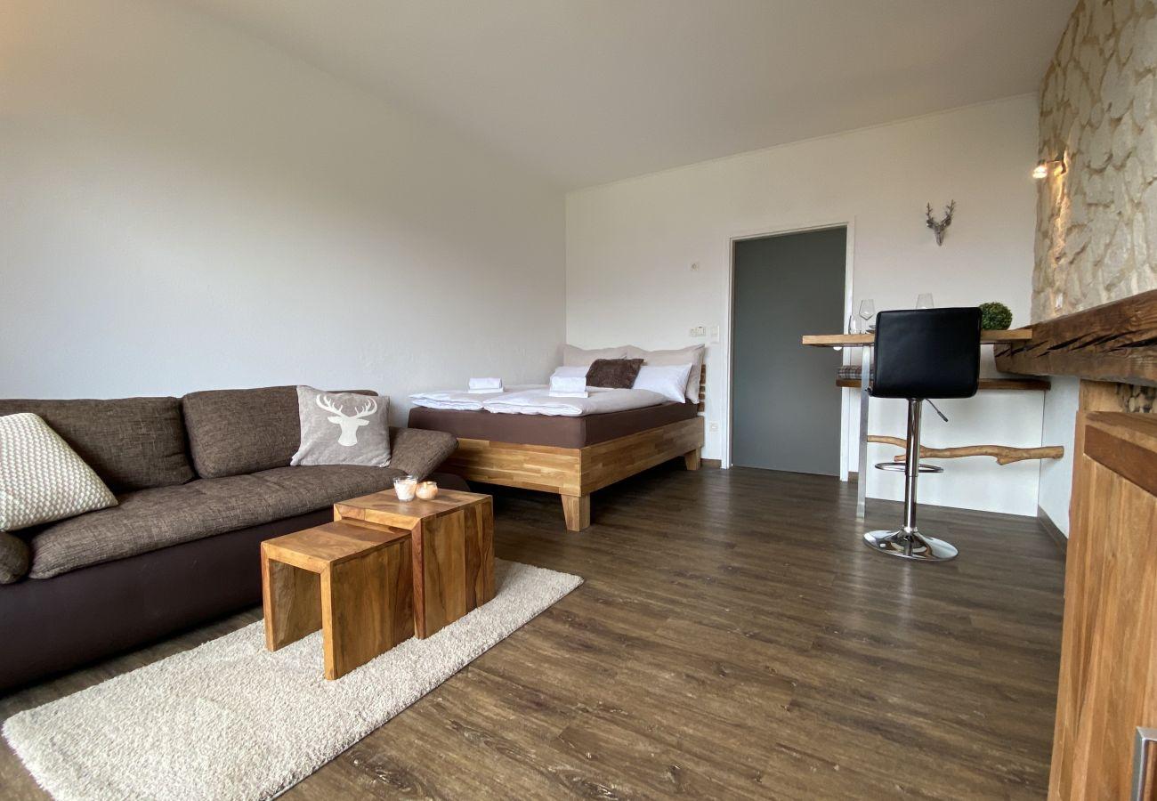 Wohnzimmer mit alpine Style in der Ferienwohnung Alpine Studio Apartment in der Schladming-Dachstein Region