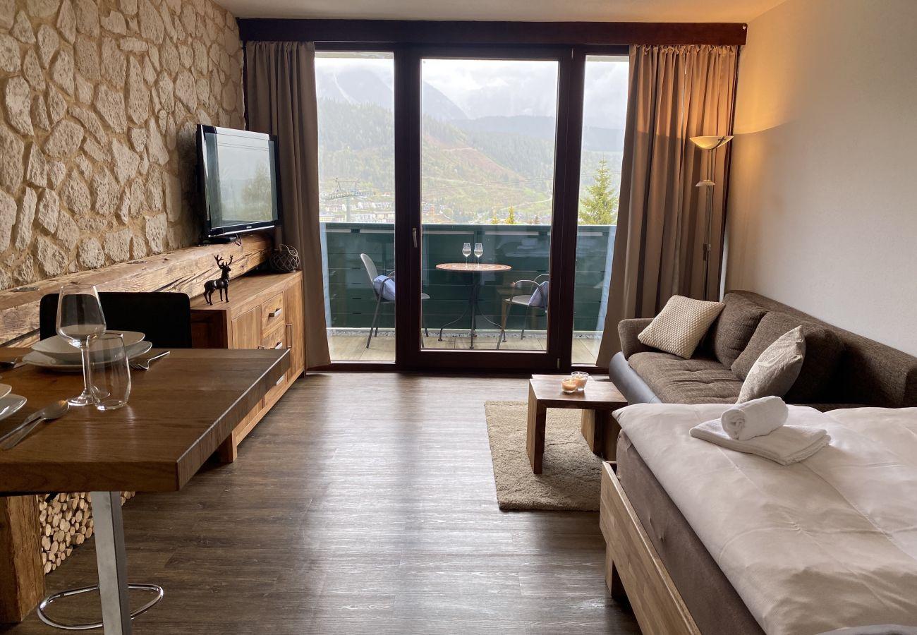 Aussicht auf die Bergen von der Ferienwohnung Alpine Studio Apartment in der Schladming-Dachstein Region