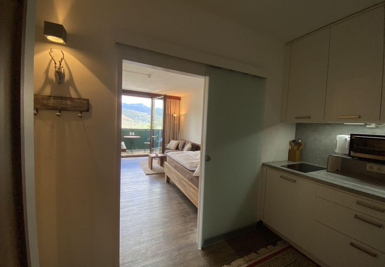 Übersicht Wohnbereich in der Ferienwohnung Alpine Studio Apartment in der Schladming Dachstein Region
