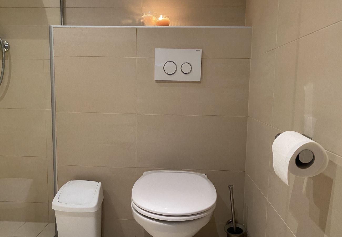 Badezimmer mit Wc in der Ferienwohnung Alpine Studio Apartment in der Schladming-Dachstein Region