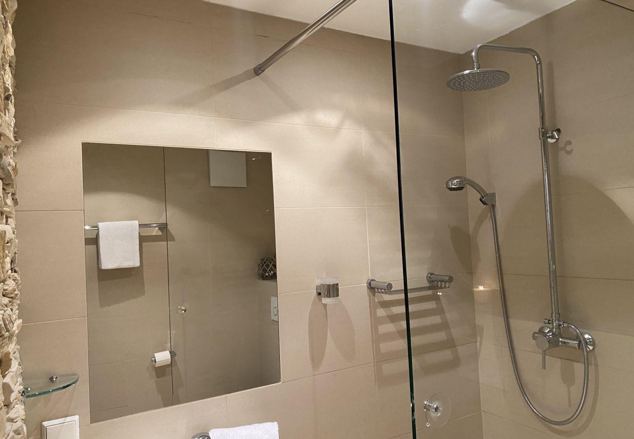 Badezimmer mit Regendusche in der Ferienwohnung Alpine Studio Apartment in der Schladming-Dachstein Region
