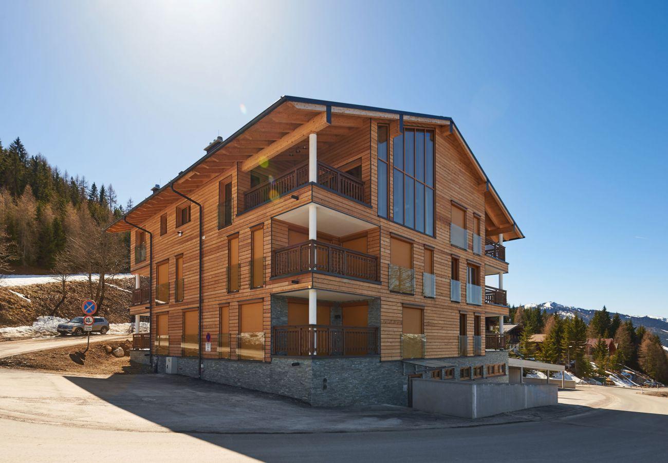 Außenansicht mit Aussicht auf die Bergen von der Ferienwohnung Fastenberg Top 3 in der Schladming-Dachstein Region